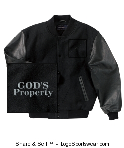 Classic Black On Black Leather and Wool Varsity Jacket Design Zoom
